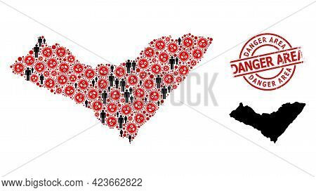 Mosaic Map Of Alagoas State United From Virus Outbreak Icons And Humans Items. Danger Area Grunge St
