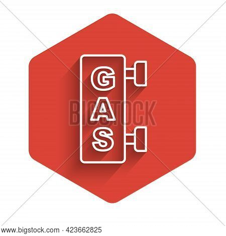White Line Gas Filling Station Icon Isolated With Long Shadow Background. Transport Related Service