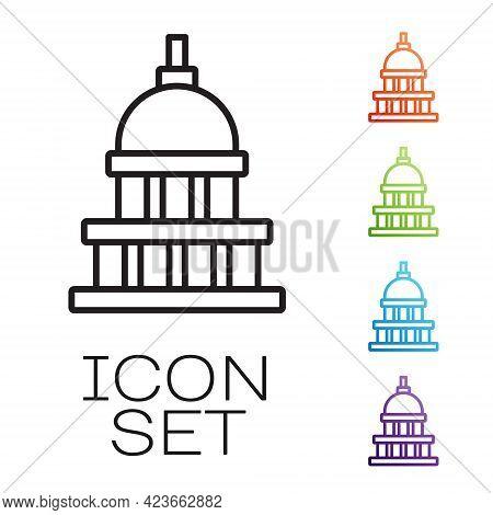 Black Line White House Icon Isolated On White Background. Washington Dc. Set Icons Colorful. Vector