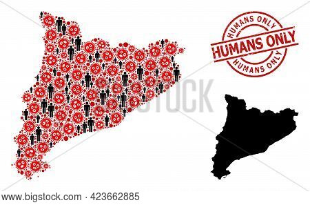 Collage Map Of Catalonia Designed From Covid Elements And Population Elements. Humans Only Textured