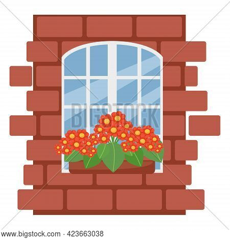 Box With Flowers On The Window, Brick Wall With White Window, Vector Illustration In Flat Style, Car