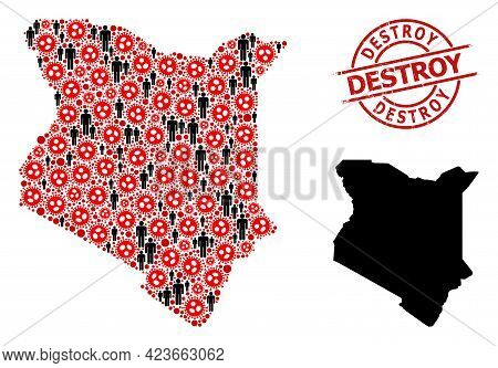 Mosaic Map Of Kenya Composed Of Flu Virus Items And Men Items. Destroy Grunge Seal Stamp. Black Peop