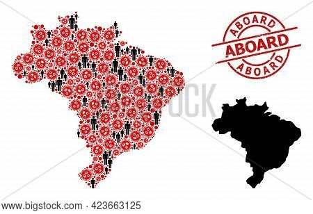 Mosaic Map Of Brazil Composed Of Flu Virus Elements And Men Elements. Aboard Textured Seal. Black Me