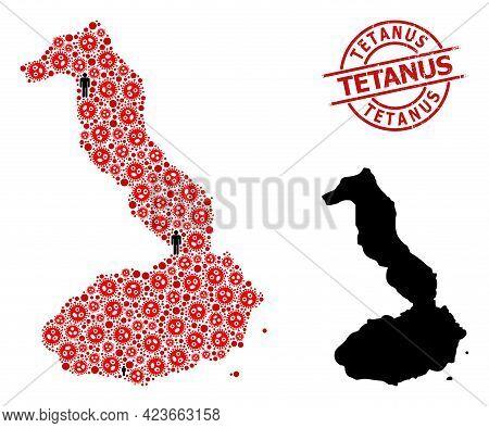 Mosaic Map Of Galapagos - Isabela Island Designed From Flu Virus Items And Men Items. Tetanus Grunge