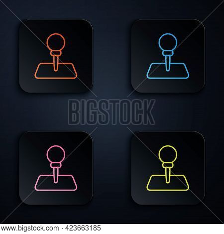 Color Neon Line Push Pin Icon Isolated On Black Background. Thumbtacks Sign. Set Icons In Square But