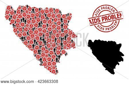 Mosaic Map Of Bosnia And Herzegovina United From Covid Virus Items And Demographics Items. Aids Prob