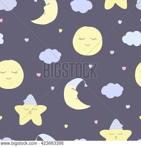 Vector Seamless Pattern With Moon (crescent), Stars, And Clouds On Purple. For Fabric, Textile And L