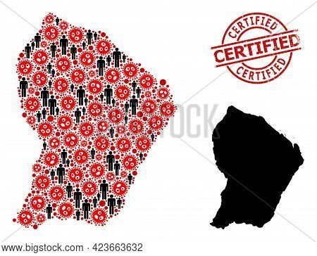 Collage Map Of French Guiana Constructed From Flu Virus Elements And Demographics Icons. Certified S