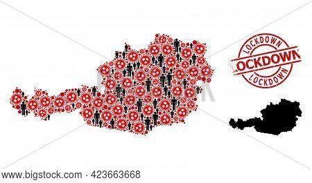 Mosaic Map Of Austria Designed From Sars Virus Icons And Men Icons. Lockdown Grunge Watermark. Black
