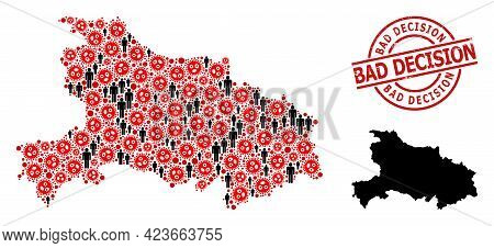 Mosaic Map Of Hubei Province Organized From Virus Outbreak Icons And Humans Items. Bad Decision Scra