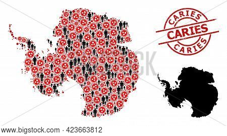 Collage Map Of Antarctica Composed Of Coronavirus Elements And Humans Elements. Caries Textured Seal