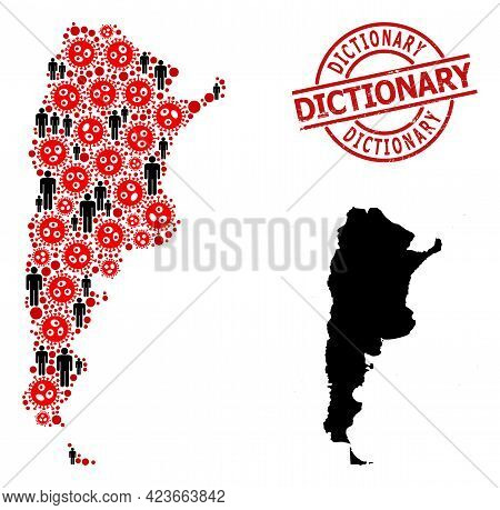 Mosaic Map Of Argentina Organized From Flu Virus Items And Humans Elements. Dictionary Distress Stam