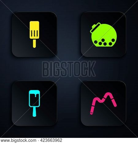 Set Jelly Worms Candy, Ice Cream, And Glass Jar With Candies Inside. Black Square Button. Vector