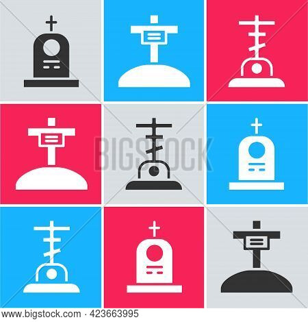 Set Grave With Tombstone, Grave With Cross And Grave With Cross Icon. Vector