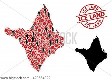 Mosaic Map Of Amapa State Designed From Sars Virus Items And Demographics Items. Ice Land Scratched
