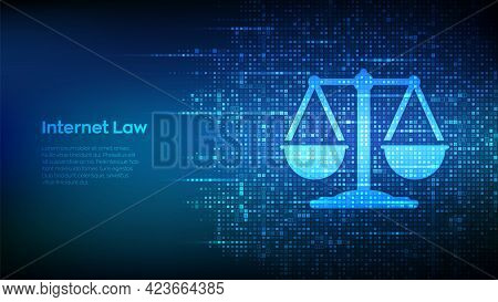 Internet Law Icon Made With Binary Code. Cyberlaw As Digital Legal Services Or Online Lawyer Advice
