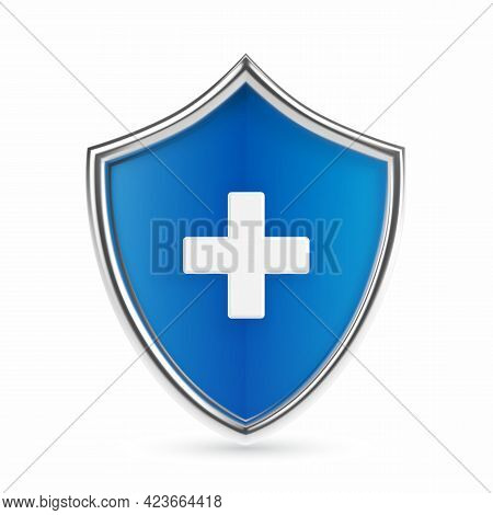 Medical Health Protection Shield With Cross. Healthcare Medicine Protected Abstract Guard Shield Con