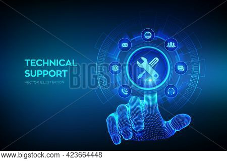 Technical Support. Customer Help. Tech Support. Customer Service, Business And Technology Concept. W