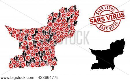 Collage Map Of Balochistan Province Composed Of Virus Icons And Humans Icons. Sars Virus Scratched S