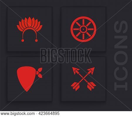Set Crossed Arrows, Indian Headdress With Feathers, Old Wooden Wheel And Cowboy Bandana Icon. Vector