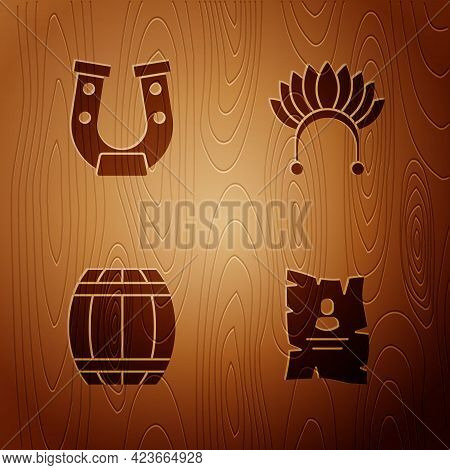 Set Wanted Western Poster, Horseshoe, Gun Powder Barrel And Indian Headdress With Feathers On Wooden