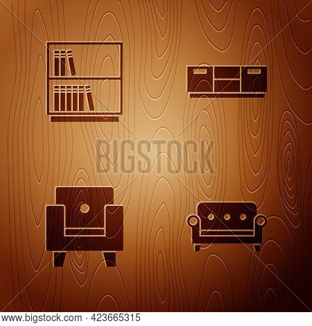Set Sofa, Library Bookshelf, Armchair And Furniture Nightstand On Wooden Background. Vector
