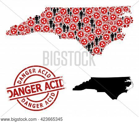 Mosaic Map Of North Carolina State Organized From Flu Virus Elements And Humans Elements. Danger Aci
