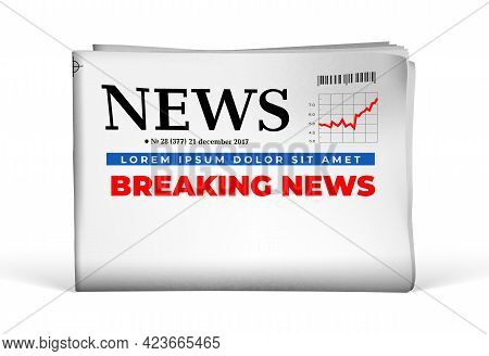 Blank Newspaper With Breaking News Headline. Mock-up Template Vector Illustration On White Backgroun