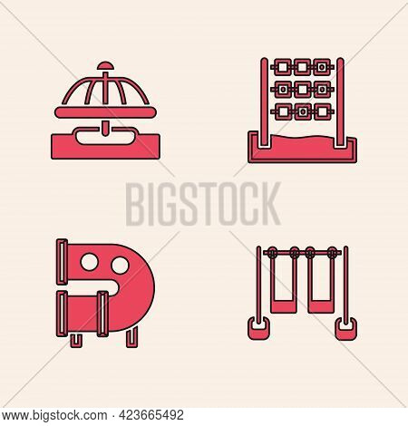 Set Double Swing, Attraction Carousel, Tic Tac Toe Game And Kid Playground Slide Pipe Icon. Vector