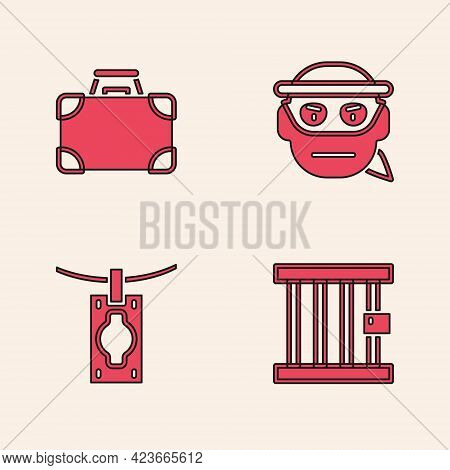 Set Prison Window, Briefcase And Money, Bandit And Money Laundering Icon. Vector