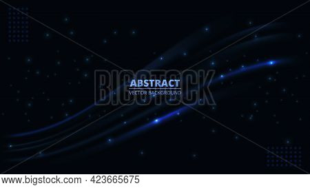 Dark Abstract Futuristic Hi-tech Background With Blue Translucent Luminous Lines And Highlights. Dar