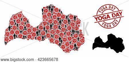 Mosaic Map Of Latvia Constructed From Covid-2019 Icons And Humans Elements. Yoga Day Textured Badge.