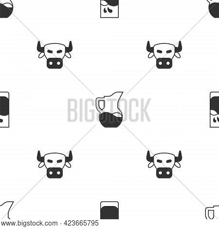 Set Glass With Milk, Milk Jug Or Pitcher And Cow Head On Seamless Pattern. Vector