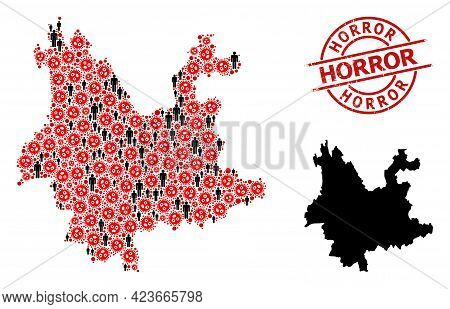 Mosaic Map Of Yunnan Province United From Flu Virus Elements And People Elements. Horror Scratched S