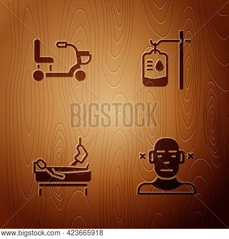 Set Deaf, Electric Wheelchair, Patient With Broken Leg And Iv Bag On Wooden Background. Vector