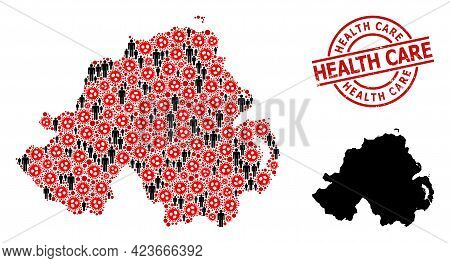 Mosaic Map Of Northern Ireland Designed From Virus Outbreak Elements And People Elements. Health Car