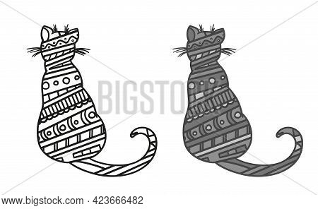 Cat. Hand Drawn Zen Animal With Abstract Patterns On Isolated Background. Freehand Art. Different Co