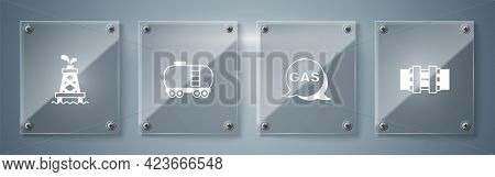 Set Metallic Pipes And Valve, Location Gas Station, Oil Railway Cistern And Rig. Square Glass Panels
