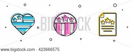 Set Usa Independence Day, Medal With Star And Declaration Of Independence Icon. Vector