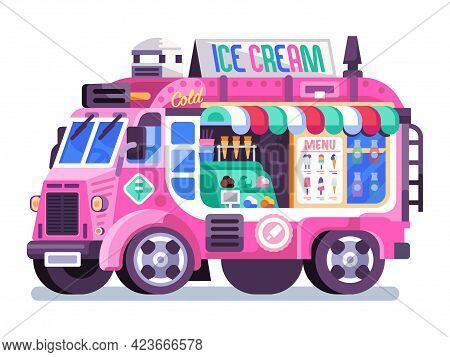 Pink Ice Cream Parlor In Flat Design
