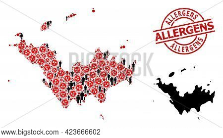 Mosaic Map Of Saint Barthelemy Designed From Sars Virus Elements And Population Items. Allergens Tex