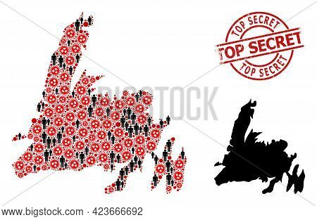 Collage Map Of Newfoundland Island United From Sars Virus Icons And Humans Items. Top Secret Grunge