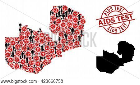 Collage Map Of Zambia United From Coronavirus Items And People Elements. Aids Test Grunge Seal. Blac