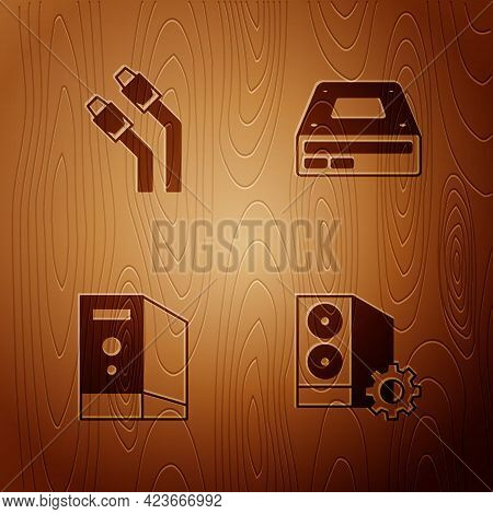 Set Case Of Computer, Lan Cable Network Internet, And Optical Disc Drive On Wooden Background. Vecto