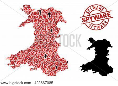 Collage Map Of Wales Designed From Covid Virus Elements And Demographics Elements. Spyware Textured