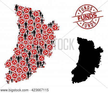 Collage Map Of Lleida Province United From Sars Virus Items And Demographics Items. Funds Scratched