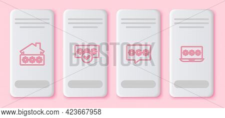 Set Line House With Password, Password Protection, And Laptop. White Rectangle Button. Vector