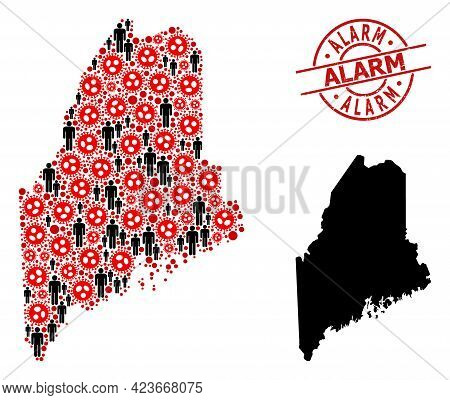 Collage Map Of Maine State United From Coronavirus Elements And Population Icons. Alarm Scratched St