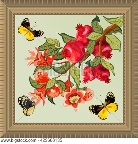 Frame With Pomegranates And Butterflies.branch With Pomegranates, Butterflies And Frame On A Colored