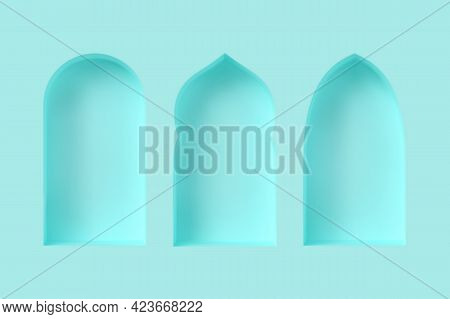 Set Of 3d Arabic Style Windows. Architectural Design Elements For Muslim Holidays. Realistic Minimal